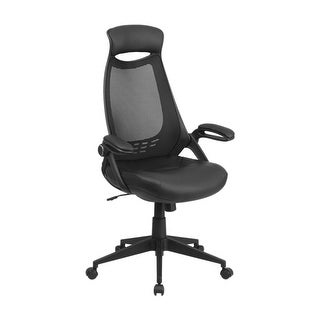 Offex High Back Black Mesh Executive Swivel Office Chair with Leather Padded Seat and Flip-Up Arms [OF-HL-0018-LEA-GG]