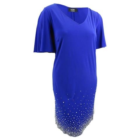 MSK Women's Plus Size Beaded Shift Dress (3X, Goddess Blue/Silver) - Goddess Blue/Silver - 3X
