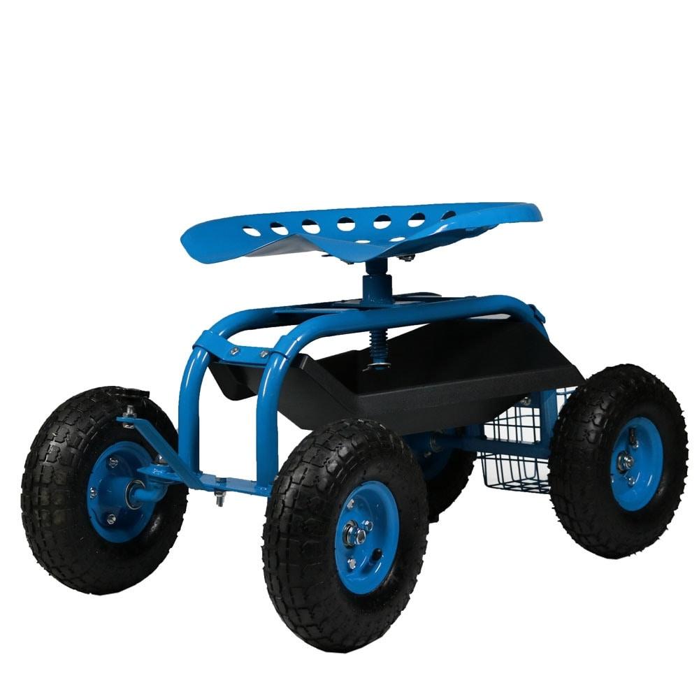 Sunnydaze Rolling Garden Cart with Steering Handle, Swivel Seat & Basket - Thumbnail 3