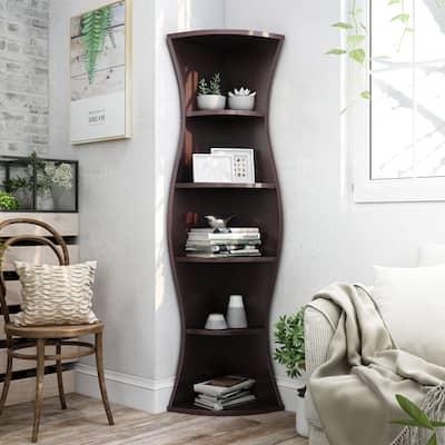 Porch & Den Stonebridge Hill Curvy Walnut Wood Corner Bookcase