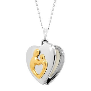 Mother & Child Heart Locket Pendant in Gold-Plated Sterling Silver - Two-Tone