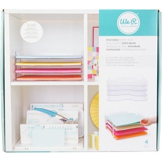 """Stackable Acrylic Paper Trays Retail Packaged 4/Pkg-Clear 12""""X12"""""""