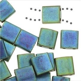 Miyuki Tila 2 Hole Square Beads 5mm - Matte Metal Blue Green 7.2 Grams