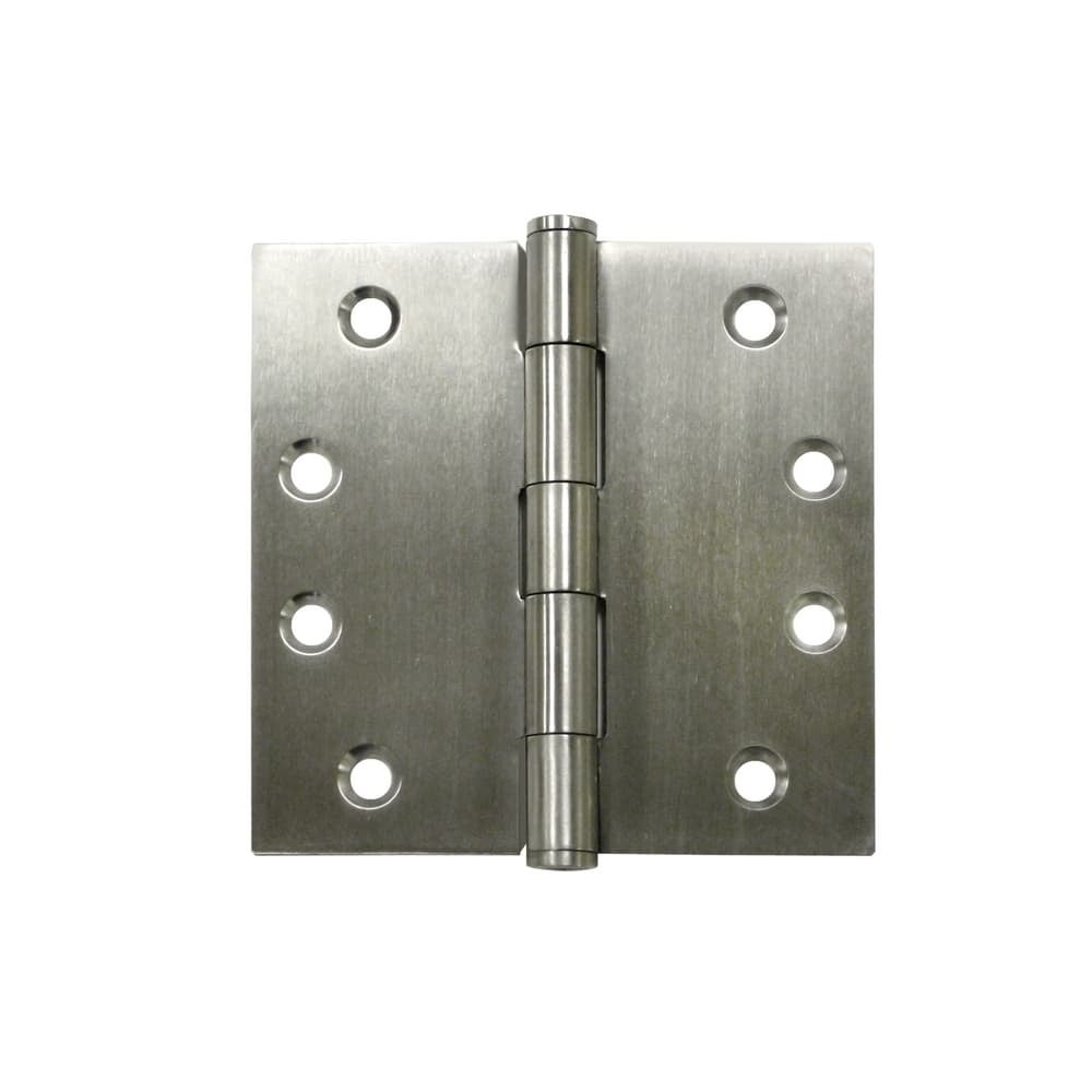 Deltana SS44U  4 x 4 Stainless Steel Square Corner Plain Bearing Mortise Hinge - Pair (Polished Stainless Steel)