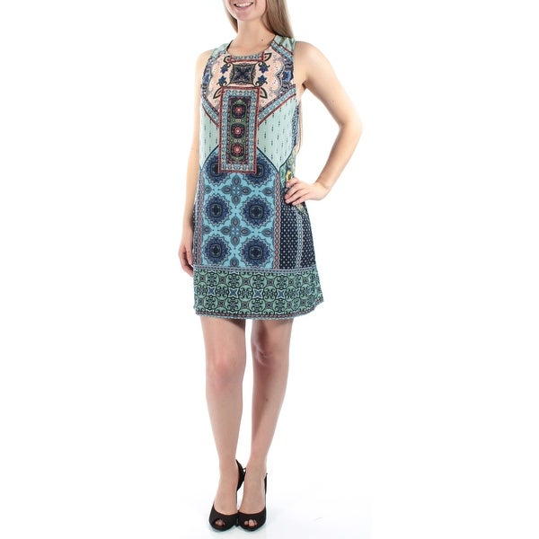4ebc5a402c023 Shop B DARLIN Womens Blue Tie Printed Sleeveless Jewel Neck Above The Knee Shift  Dress Juniors Size  13 - Free Shipping On Orders Over  45 - Overstock.com -  ...