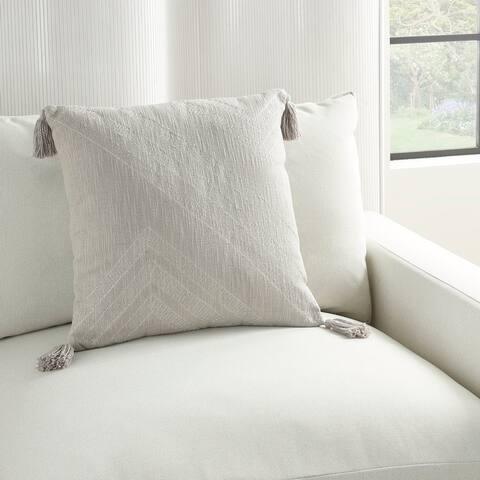 """Kathy Ireland Modern Farmhouse Linear Textured Embroidered Throw Pillow 20"""" x 20"""""""