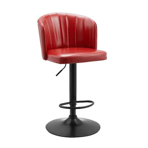 Art Leon Faux Leather Adjustable Height Swivel Barstool