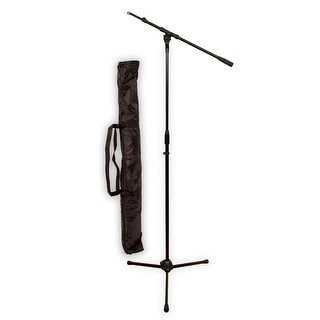 Podium Pro MS2 Adjustable Steel Microphone Stand with Boom , Tripod Base and Stand Bag MS2SET9