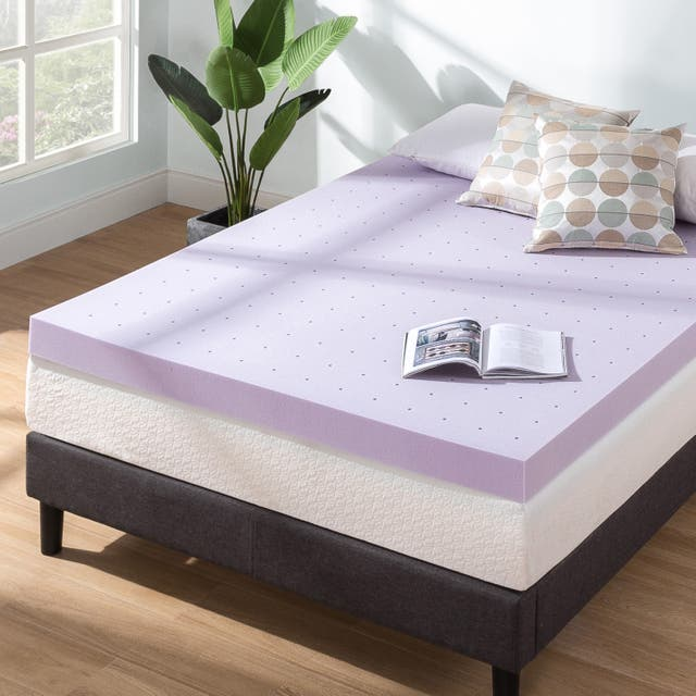 4 Inch Lavender Infused Ventilated Memory Foam Bed Topper - Crown Comfort