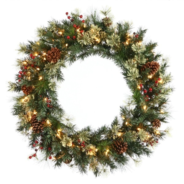 """24"""" Pre-Lit Nisswa Berry Pine with Pine Cones Artificial Christmas Wreath - Clear Lights"""