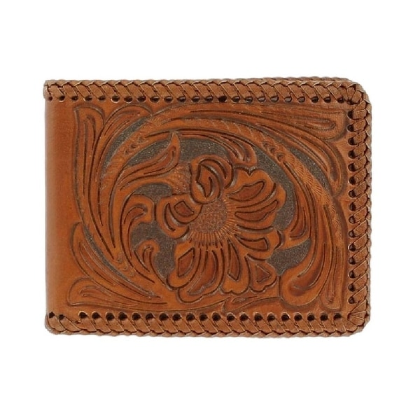 Nocona Western Wallet Mens Bifold Laced Tooled Rich Earth - One size