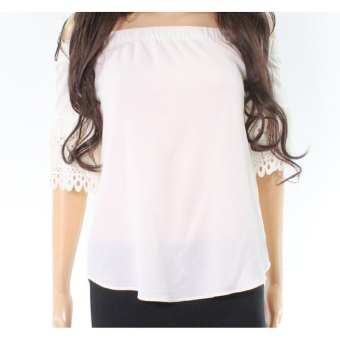 Moa Moa Ivory White Womens Size Small S Laser-Cut Detail Blouse