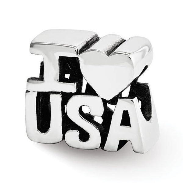 Sterling Silver Reflections I HEART USA Bead (4mm Diameter Hole)