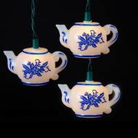 Set of 10 White and Blue Floral Teapot Novelty Light Set - Green Wire