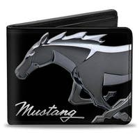 Mustang Chrome Pony Mustang Script Black Silver Bi Fold Wallet - One Size Fits most
