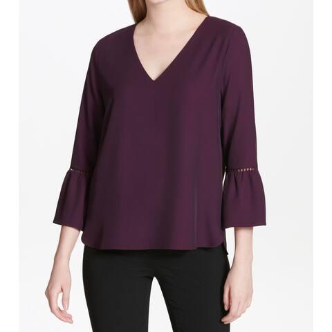 f1bdc7e1e7 Calvin Klein Purple Women s Size XL Bell-Sleeve V-Neck Blouse