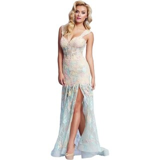 Mac Duggal Womens Formal Dress Lace Boning