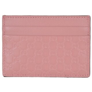 "Gucci 476010 Soft Pink Leather Micro GG Guccissima Small Card Case - 4"" x 2.75"""