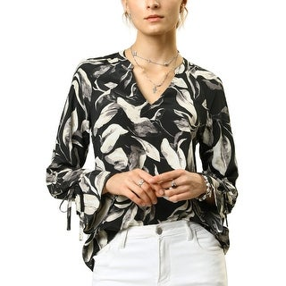 Women's Strappy Bell V Neck Floral Leaves Printed Casual Blouse Tops