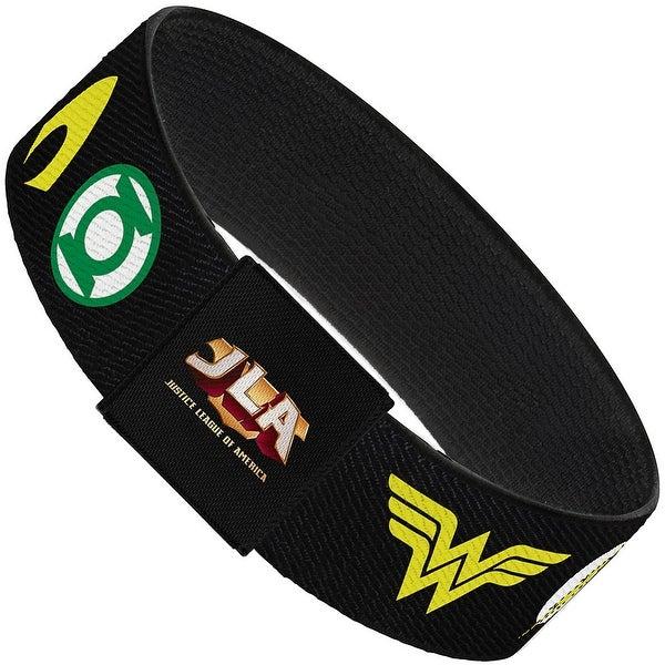 Justice League 6 Superhero Logos Black Elastic Bracelet