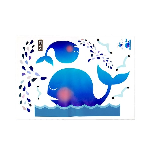 Cartoon Blue Whale Wall Stickers Removable DIY Decal for Bedroom Living Room