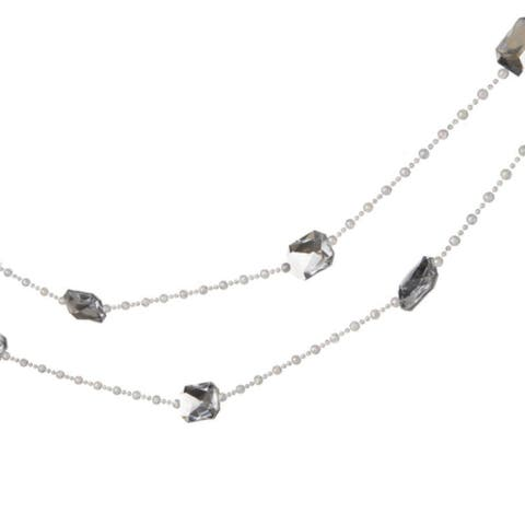 6' Silver and White Snow Drift Jewel Beaded Artificial Christmas Garland - Unlit