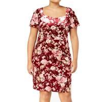 Monteau Red Womens Size 2X Plus Floral-Print Velvet Sheath Dress