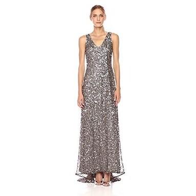 Adrianna Papell Sleeveless Sequin Beaded Gown V-Neck V-Back