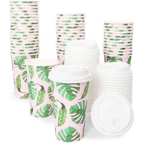 48x 16oz Hot Beverage Disposable Paper Coffee Cups with Lids, Hawaiian Tropical - 16 Oz