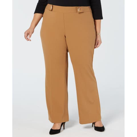 INC Womens Pants Beige Size 26W Plus Dress Wide-Leg Grommet Stretch