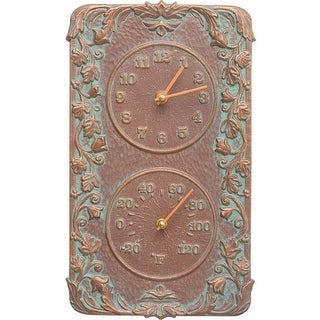 Acanthus Thermometer and Clock Copper Verdi
