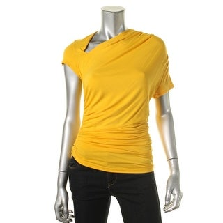 Catherine Malandrino Womens Ruched Asymmetric Neck Casual Top - S