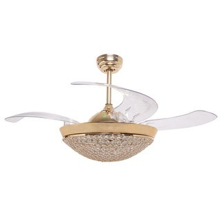 Modern Dimmable Light Retractable 4-Blades LED Crystal Ceiling Fan - french gold