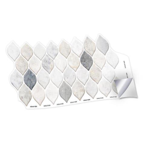 Walplus Natural Stone Leaf Wall Peel and Stick Backsplash Tile Stickers
