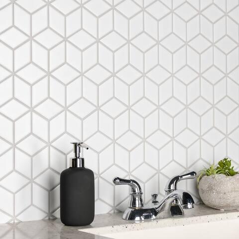 """SomerTile Metro Rhombus Matte White 10.5"""" x 12.13"""" Porcelain Mosaic"""