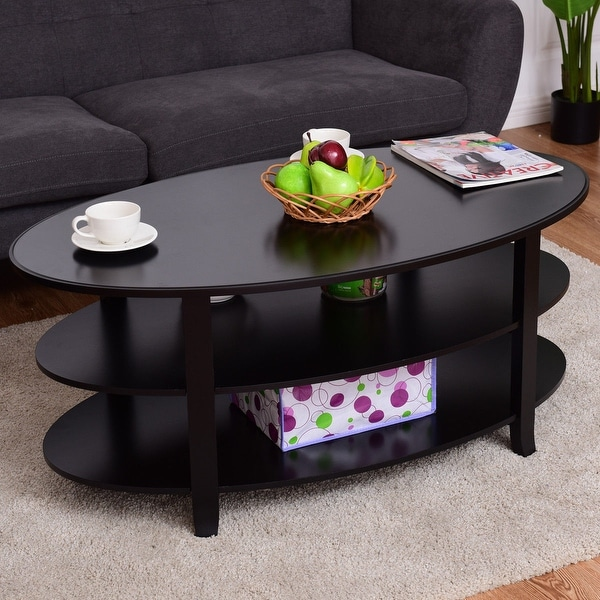 Oval Wooden Coffee Table With Shelf: Shop Costway 3-Tier Oval Coffee Table Display Shelf Living