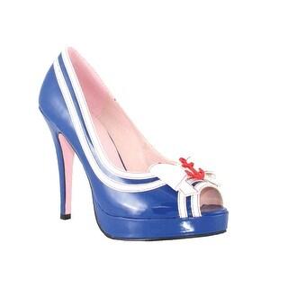 Leg Avenue Women'S Matey Peep Toe Pump,Blue,7 M Us