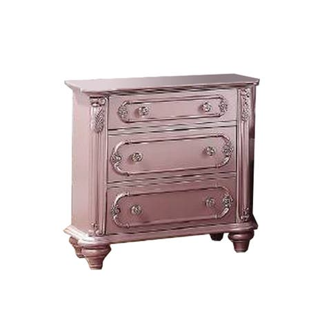 3 Drawer Wooden Nightstand with Turned Legs, Pink
