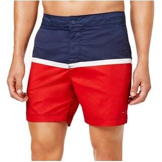 Tommy Hilfiger Blue Red Mens Size XL Remington Trunks Swimwear