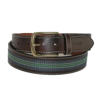 Tommy Hilfiger Men's Leather Contrast Stitch Stripe Inlay Belt