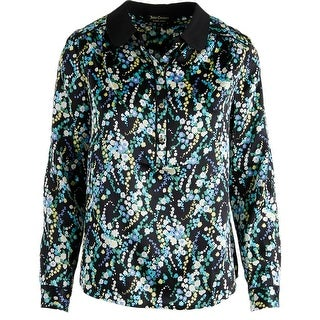Juicy Couture Black Label Womens Nouveau Wildflower Silk Blouse