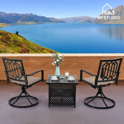 MFSTUDIO 3-Piece Patio Dining Set with 2 x Textilene Metal Swivel Chairs and 1 x Wrought Iron Square Table with Umbrella Hole