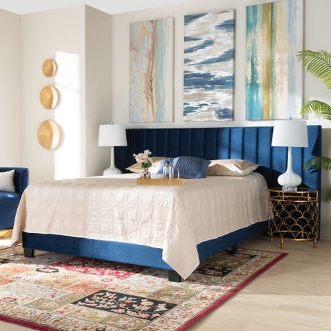 Fiorenza Glam and Luxe Navy Blue Velvet Fabric Upholstered Queen Size Panel Bed with Extra Wide Channel Tufted Headboard