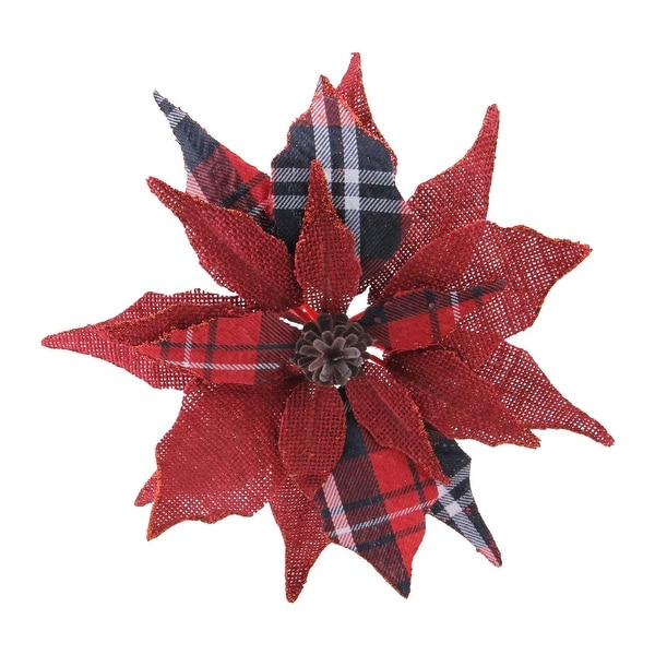 """9.5"""" Scarlet and Black Plaid Poinsettia Clip-On Christmas Ornament - RED"""