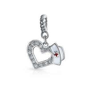 Bling Jewelry Nurse Hat Heart Shaped Dangle Bead Charm .925 Sterling Silver