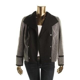 Calvin Klein Womens Plus Jacquard Open Front Jacket