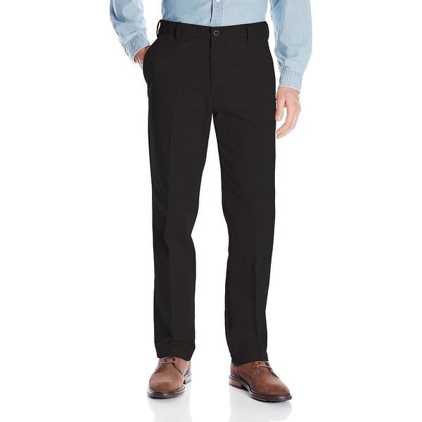 IZOD Mens Pants Deep Black Size 40x30 Straight Fit Flat-Front Khakis. Opens flyout.