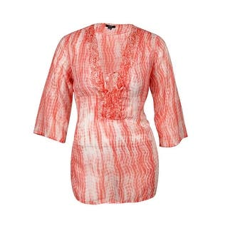 Raviya Women's Printed Crepe Beaded Tunic Swim Cover - Coral (Option: 2x)|https://ak1.ostkcdn.com/images/products/is/images/direct/142a7a6f62863b3b3c6156b91a01279a8d55c6f9/Raviya-Women%27s-Printed-Crepe-Beaded-Tunic-Swim-Cover.jpg?impolicy=medium