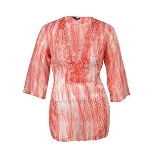Raviya Women's Printed Crepe Beaded Tunic Swim Cover - Coral