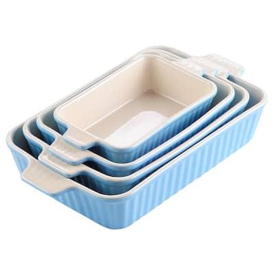 MALACASA Baking Dish Set of 4, Rectangular, 2.25/1.5/1.1/0.6 Qt